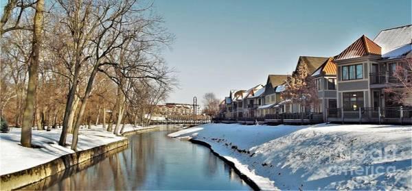 Wall Art - Photograph - Winter Canal And Condos At Kamm Island           Mishawaka             Indiana by Rory Cubel