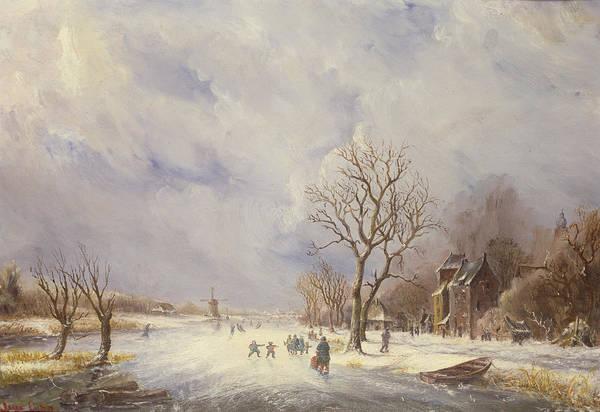 Lynn Wall Art - Painting - Winter Canal Scene by Jan Lynn