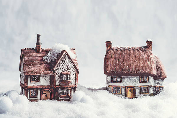 Wall Art - Photograph - Winter Ceramic Cottages In Snow by Amanda Elwell