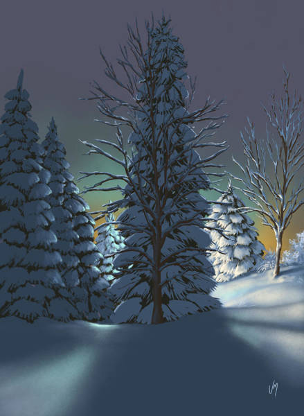 Snowscape Painting - Winter Charm by Veronica Minozzi