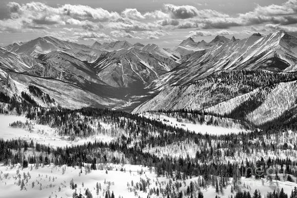 Photograph - Winter Clouds Over Sunshine Village Black And White by Adam Jewell