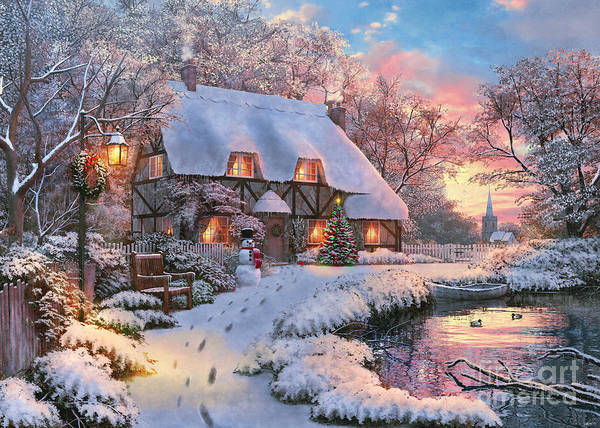 Wall Art - Digital Art - Winter Cottage by MGL Meiklejohn Graphics Licensing