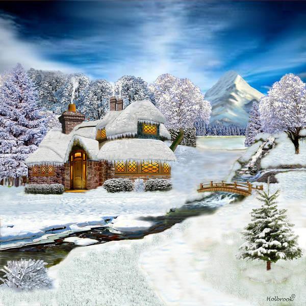 Fill Digital Art - Winter Country Cottage by Glenn Holbrook