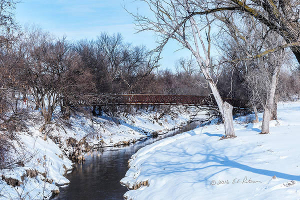 Photograph - Winter Creek And Bridge by Edward Peterson