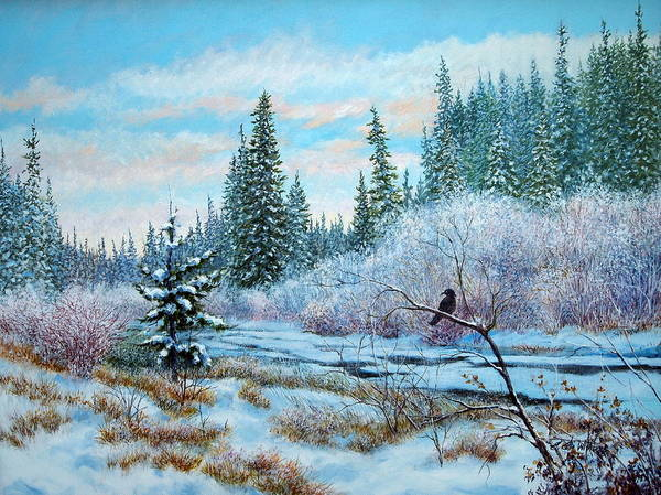 Painting - Winter Creek With Crow by E Colin Williams ARCA