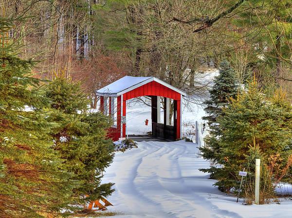 Covered Bridge Photograph - Winter Crossing by Evelina Kremsdorf