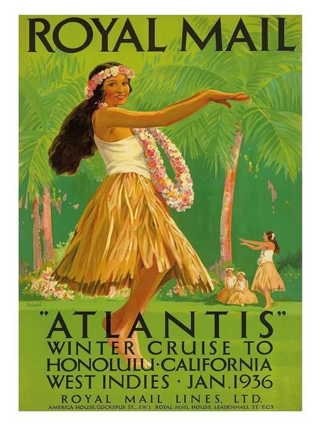 Honolulu Wall Art - Digital Art - 1936 Royal Mail Lines Ss Atlantis Cruise Ship Vintage Travel Poster by Retro Graphics
