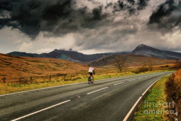 Photograph - Winter Cyclist Snowdonia by Adrian Evans