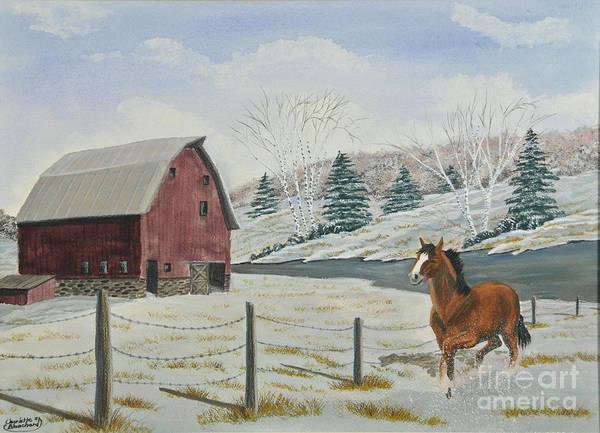 Barn Snow Painting - Winter Dance by Charlotte Blanchard