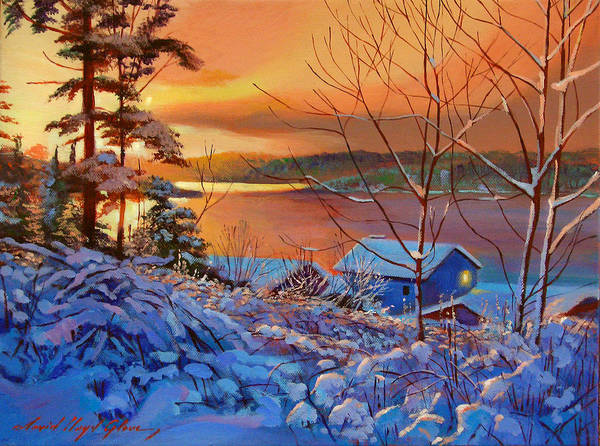 Painting - Winter Day Begins by David Lloyd Glover