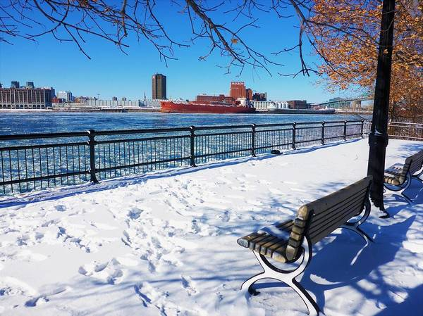 Photograph - Montreal - Winter Day With Red Ship by Cristina Stefan