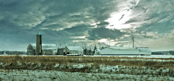 Wall Art - Photograph - Winter Dusting On White Barns by Garth Glazier
