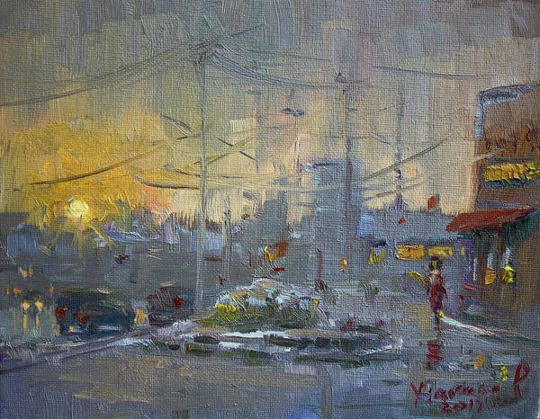 Wall Art - Painting - Winter End Of Day by Ylli Haruni