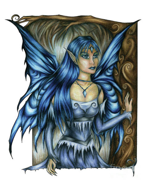 Drawing - Winter Fairy Drawing by Kristin Aquariann