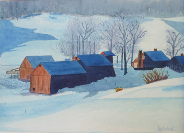 Barn Snow Painting - Winter Farm by Ally Benbrook