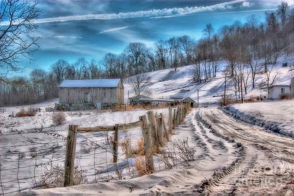 Snow Fence Digital Art - Winter Farm Barn In Snow  by Randy Steele