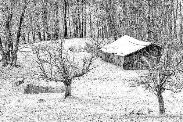 Photograph - Winter Farm Scene In Black And White by Thomas R Fletcher