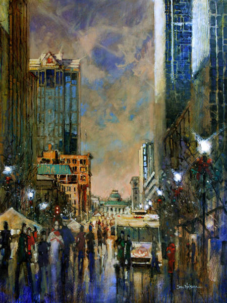 Wall Art - Painting - Winter Festival Evening by Dan Nelson