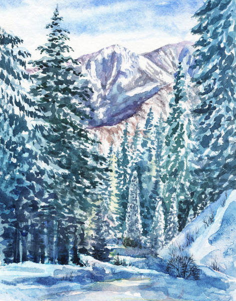 Wall Art - Painting - Winter Forest And Mountains by Irina Sztukowski
