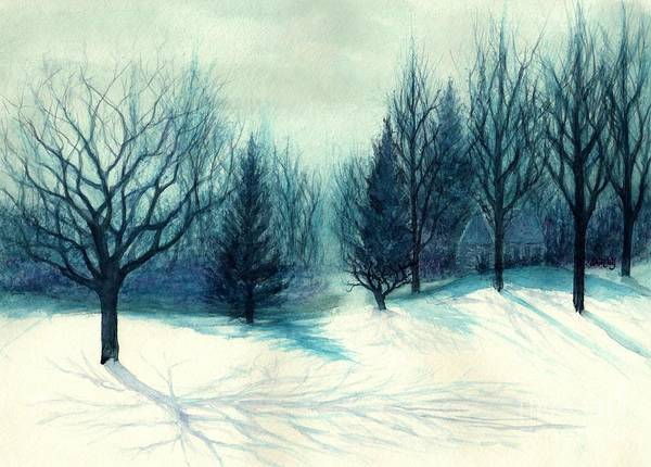 Yule Painting - Winter Forest Skyline - Winter Blues by Janine Riley