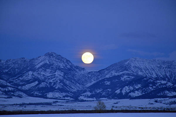 Photograph - Winter Full Moon Over The Rockies by Bruce Gourley