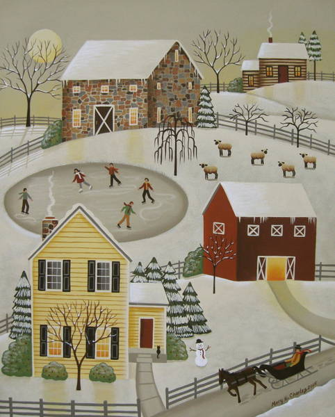Winter Fun Painting - Winter Fun by Mary Charles