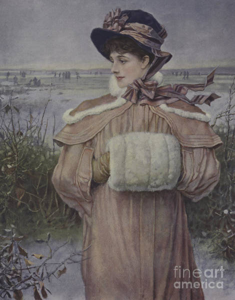 Embroidery Painting - Winter by George Henry Boughton