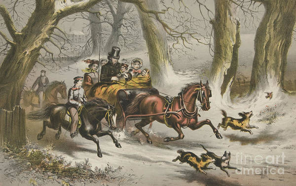 Wall Art - Painting - Winter  Going To A Christmas Party by American School