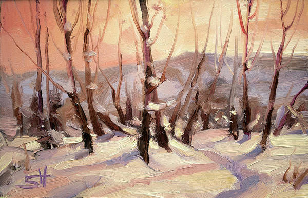 Skiing Painting - Winter Grove by Steve Henderson