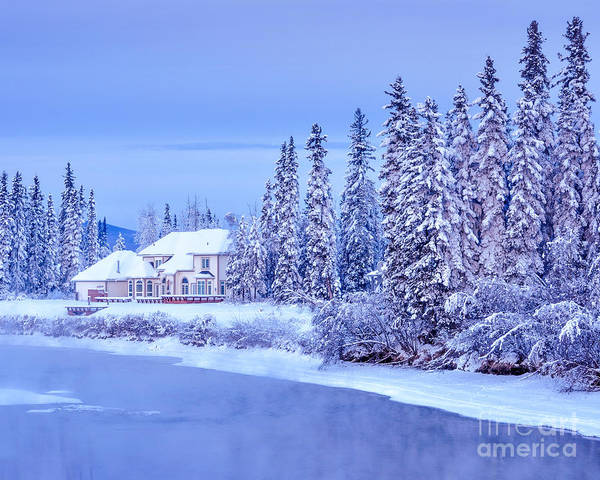 Wood Siding Wall Art - Photograph - Winter Home On Alaska River  by Gary Whitton