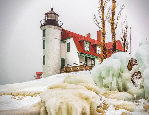Photograph - Winter Ice At Point Betsie Light by Nick Zelinsky