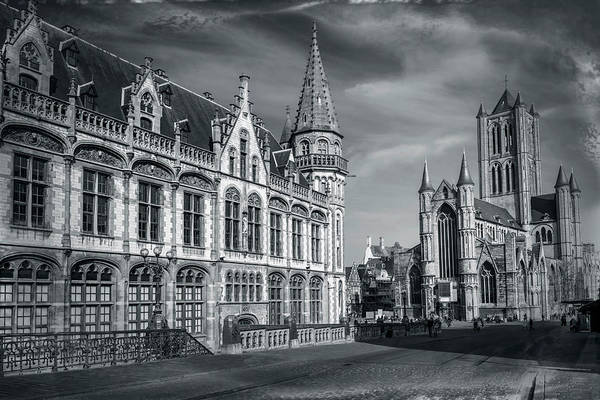 Gent Wall Art - Photograph - Winter In Ghent Belgium Black And White  by Carol Japp