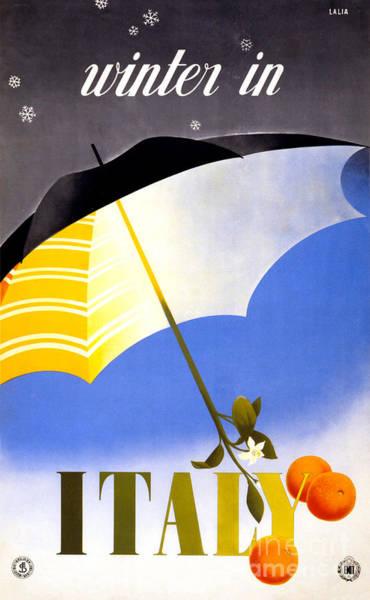 Getaway Mixed Media - Winter In Italy Vintage Travel Poster Restored by Vintage Treasure