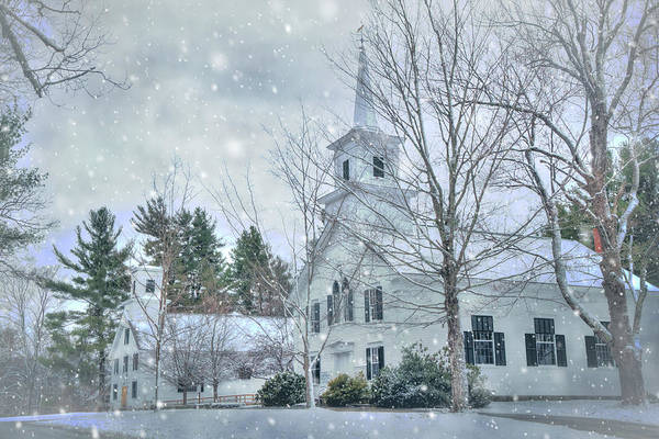 Photograph - Winter In New England - White Church In Snow by Joann Vitali