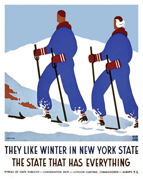 Wall Art - Painting - Winter In New York State, Ski, Mountains, Travel Poster by Long Shot