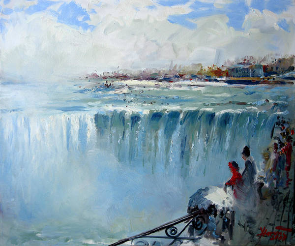 Fine Painting - Winter In Niagara Falls by Ylli Haruni