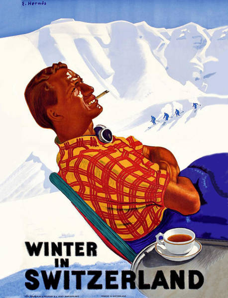 Winter Sports Painting - Winter In Switzerland by Long Shot
