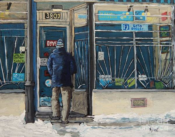 Montreal Street Scene Painting - Winter In The City by Reb Frost