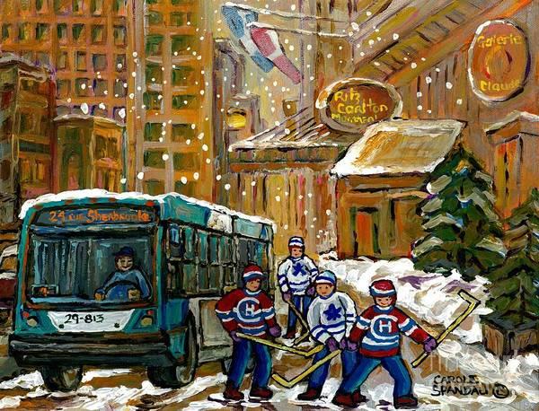 Painting - Winter In The City Ritz Carlton Snowy Bus Scene Downtown Montreal Hockey Art Canadian Artist by Carole Spandau