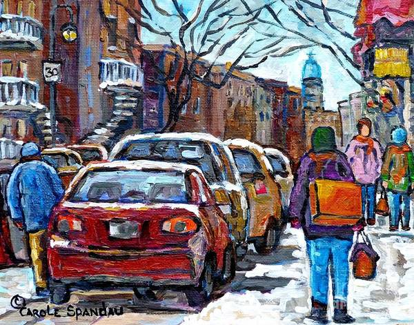 Painting - Winter In The City Shopping Rue Wellington Verdun Montreal Canadian Winter Scene Painting C Spandau  by Carole Spandau