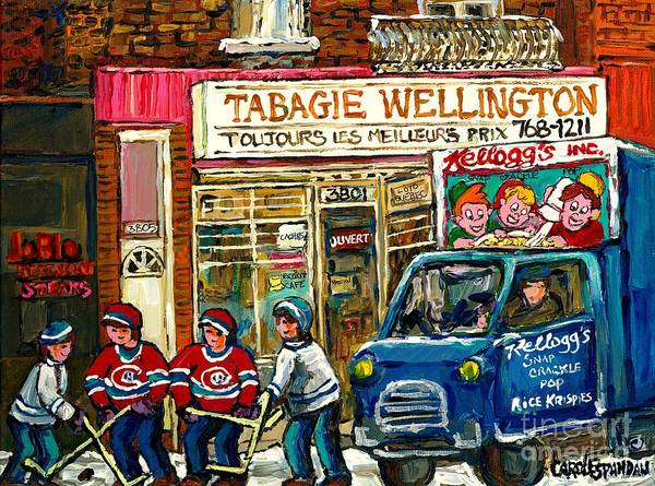Painting - Winter In The City Tabagie Wellington Joblo Verdun Montreal Hockey Art Kellogg's Truck Canadian Art  by Carole Spandau