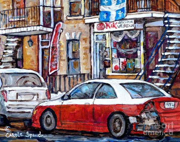 Quebec Flag Painting - Winter In The City Verdun Storefront Staircase Painting Montreal Art C Spandau Canadian Artist       by Carole Spandau