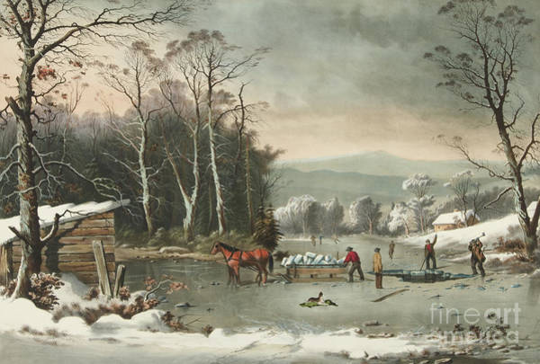 Wall Art - Painting - Winter In The Country, Getting Ice, 1864 by Currier and Ives