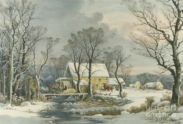 Currier And Ives Painting - Winter In The Country, The Old Grist Mill, 1864  by Currier and Ives