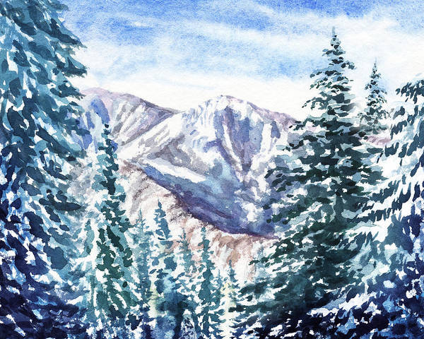 Wall Art - Painting - Winter In The Mountains  by Irina Sztukowski