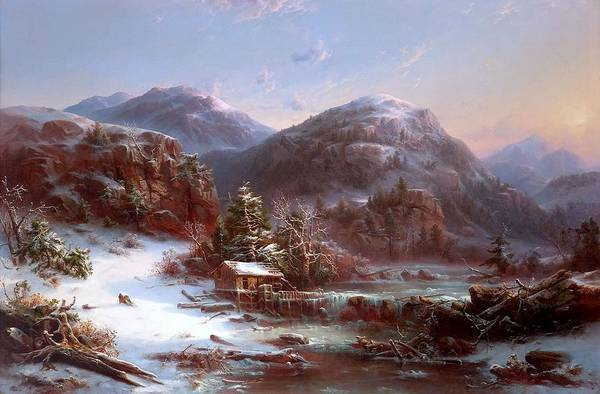 Adirondack Mountains Painting - Winter In The Mountains by MotionAge Designs