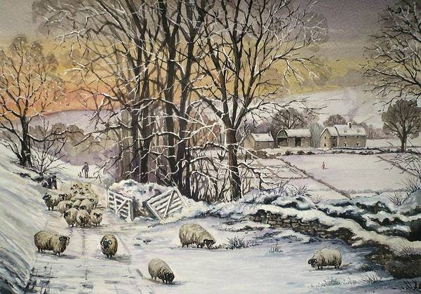 Wall Art - Painting - Winter In The Ribble Valley by Andrew Read