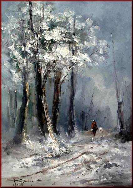 Poppie Painting - Winter In Tuscany by Rangi Sergio