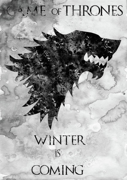 Wall Art - Digital Art - Winter Is Coming-black by Erzebet S