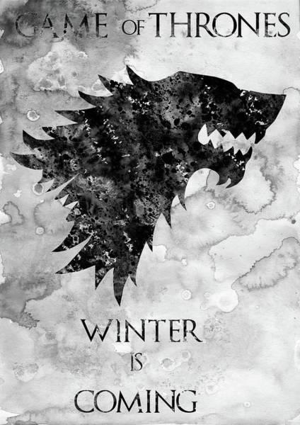 Wall Art - Digital Art - Winter Is Coming-black by Erzebet S